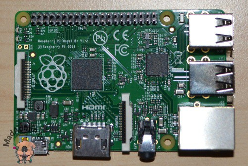 Raspberry PI model B+ közelről
