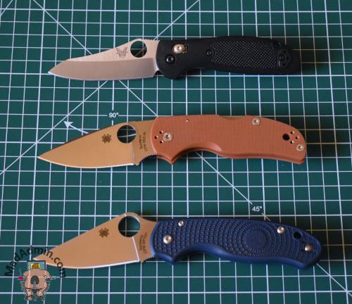 Benchmade Mini Griptilian, Spyderco Native 5 REX45 és Spyderco Para 3 LW SPY27