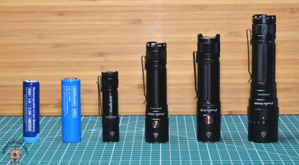 Balról jobbra: 18650 akku, 21700 akku, Fenix E12 v2, E28R, E35 v3, PD40R v2Fenix E28R LED